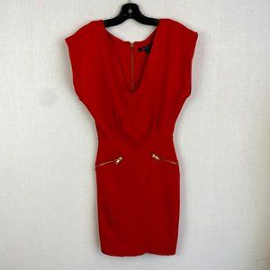 FRENCH CONNECTION V - Neck Orange Dress